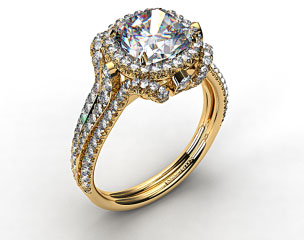 18K Yellow Gold Split Shank Pave Halo with Pave Diamond Details